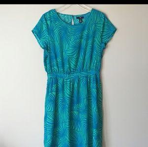 Gap blue green tropical leaf print dress XL